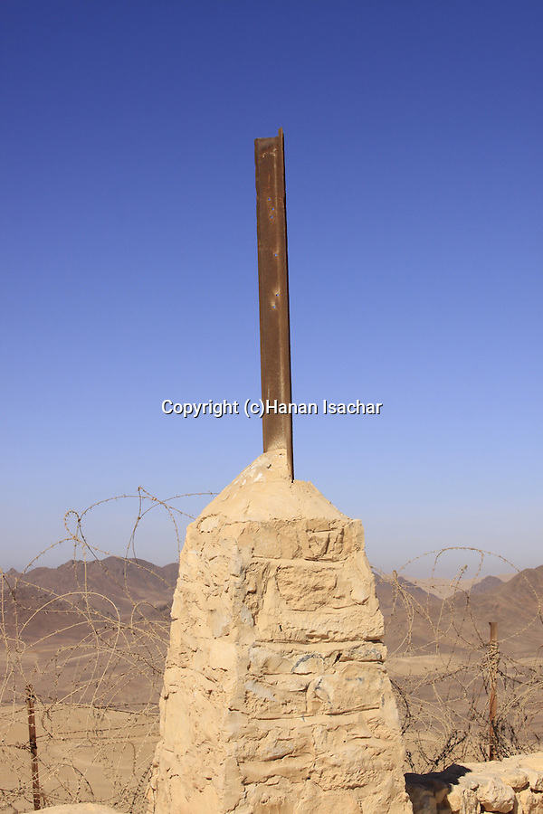 Israel, Negev, a British boundary stone on the Egyptian-Israeli border (Kilometer 82)