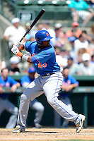 New York Mets infielder Aderlin Rodriguez #40 at bat during a Spring Training game against the Baltimore Orioles at Ed Smith Stadium on March 30, 2013 in Sarasota, Florida.  (Mike Janes/Four Seam Images)