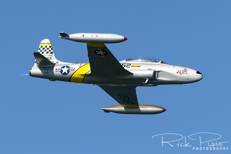 Greg Colyer pilots the Lockheed T-33 Shooting Star during a 2015 air show performance. The Lockheed T-33 Shooting Star was developed from the P-80/F-80 fighter and made its first flight in 1948.