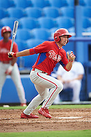 GCL Phillies left fielder Josh Stephen (2) at bat during the first game of a doubleheader against the GCL Blue Jays on August 15, 2016 at Florida Auto Exchange Stadium in Dunedin, Florida.  GCL Phillies defeated the GCL Blue Jays 7-5 in a completion of a game started on July 30th.  (Mike Janes/Four Seam Images)