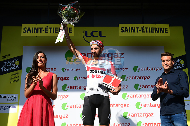 Thomas De Gendt (BEL) Lotto-Soudal wins Stage 8, and also the day's combativity prize presented by triathlete Denis Chevrot, of the 2019 Tour de France running 200km from Macon to Saint-Etienne, France. 13th July 2019.<br /> Picture: ASO/Alex Broadway | Cyclefile<br /> All photos usage must carry mandatory copyright credit (© Cyclefile | ASO/Alex Broadway)