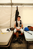 USA, Tennessee, Nashville, Iroquois Steeplechase, a jocky inside the jockey tent before the first race