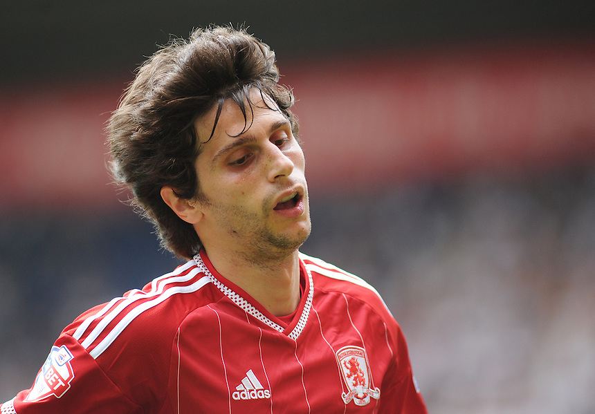 Middlesbrough's Diego Fabbrini in action during todays match  <br /> <br /> Photographer Kevin Barnes/CameraSport<br /> <br /> Football - The Football League Sky Bet Championship - Preston North End v Middlesbrough -  Sunday 9th August 2015 - Deepdale - Preston<br /> <br /> &copy; CameraSport - 43 Linden Ave. Countesthorpe. Leicester. England. LE8 5PG - Tel: +44 (0) 116 277 4147 - admin@camerasport.com - www.camerasport.com