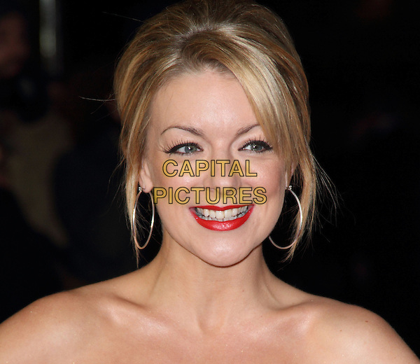 Sheridan Smith.The 56th BFI London Film Festival Gala Screening of 'Quartet', Odeon Leicester Square, London, England..15th October 2012.headshot portrait red lipstick silver hoop earrings smiling bare shoulders .CAP/ROS.©Steve Ross/Capital Pictures.