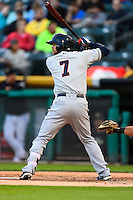 Tyler Smith (7) of the Tacoma Rainiers at bat against the Salt Lake Bees in Pacific Coast League action at Smith's Ballpark on June 13, 2016 in Salt Lake City, Utah. The Rainiers defeated the Bees 3-1.  (Stephen Smith/Four Seam Images)