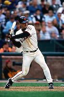 SAN FRANCISCO, CA - Jeff Kent of the San Francisco Giants bats against the Arizona Diamondbacks during a game at AT&T Park in San Francisco, California on April 15, 2000. Photo by Brad Mangin