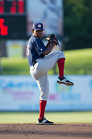 Hagerstown Suns starting pitcher Yonathan Ramirez (26) in action against the Kannapolis Intimidators at Kannapolis Intimidators Stadium on June 15, 2017 in Kannapolis, North Carolina.  The Intimidators defeated the Suns 9-1 in game two of a double-header.  (Brian Westerholt/Four Seam Images)