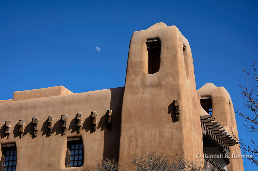 Moon over New Mexico Museum of Art, Santa Fe