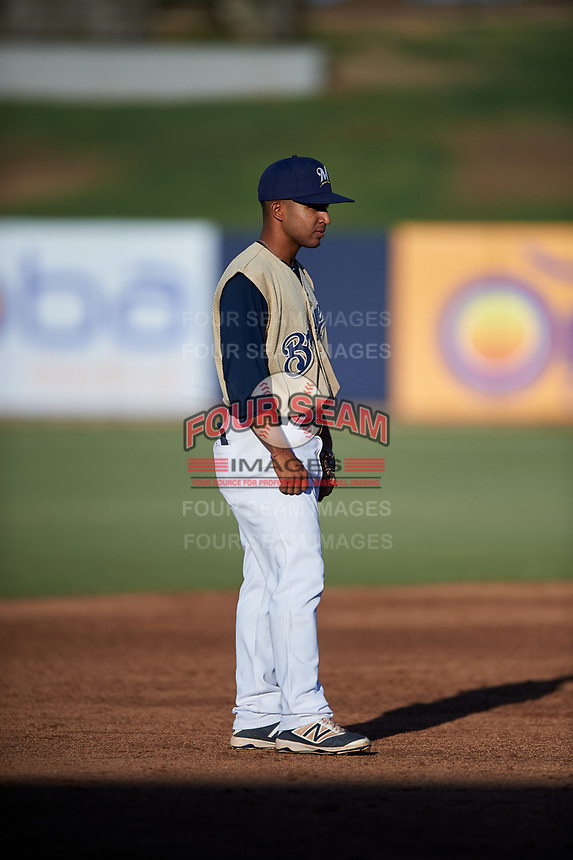 AZL Brewers Gold third baseman Felix Valerio (25) during an Arizona League game against the AZL Brewers Blue on July 13, 2019 at American Family Fields of Phoenix in Phoenix, Arizona. The AZL Brewers Blue defeated the AZL Brewers Gold 6-0. (Zachary Lucy/Four Seam Images)
