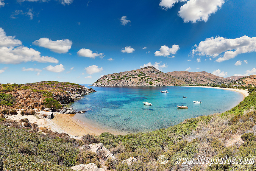 The circular bay of Fellos beach in Andros island, Greece