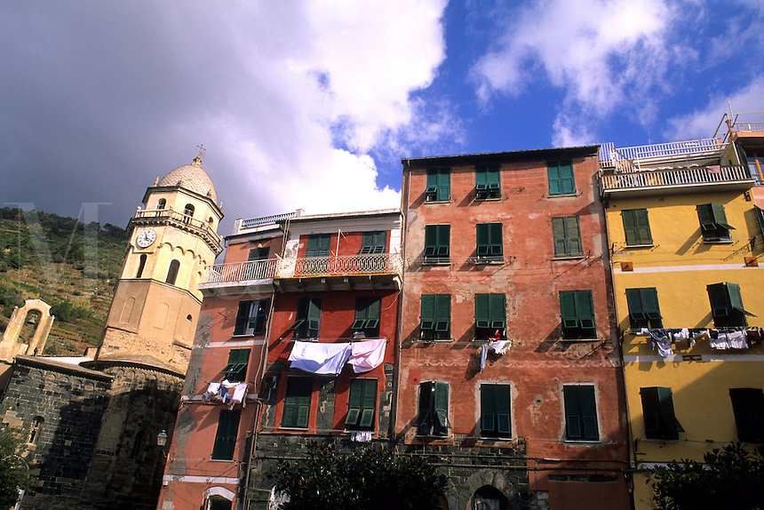 Colorful close up of buildings in Cinque Terre town of Vernazza Ital