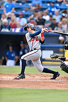 Rome Braves second baseman Jordan Rodgers (15) swings at a pitch during a game against the Asheville Tourists at McCormick Field on June 24, 2017 in Asheville, North Carolina. The Tourists defeated the Braves 6-5. (Tony Farlow/Four Seam Images)