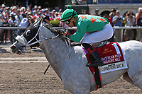 HALLANDALE BEACH, FL - March 31:   #1 Conquest Big E with jockey Jose Batista on board, wins the Gulfstream Park Hardacre Mile GII at Gulfstream Park on March 31, 2018 in Hallandale Beach, Florida. (Photo by Liz Lamont/Eclipse Sportswire/Getty Images)