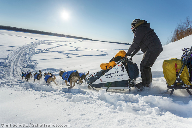 Katherine Keith runs down the bank onto the Koyukuk River after leaving the Huslia checkpoint on Saturday  March 14, 2015 during Iditarod 2015.  <br /> <br /> (C) Jeff Schultz/SchultzPhoto.com - ALL RIGHTS RESERVED<br />  DUPLICATION  PROHIBITED  WITHOUT  PERMISSION