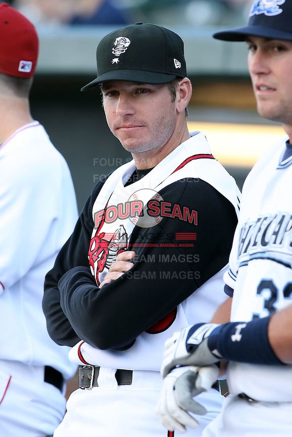 June 16th 2008:  Clayton McCullough of the Lansing Lugnuts, Class-A affiliate of the Toronto Blue Jays, during the Midwest League All-Star Home Run Derby at Dow Diamond in Midland, MI.  Photo by:  Mike Janes/Four Seam Images