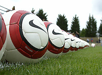 10 July 2005:  A view of Nike balls on the field before the game between USA against Ukraine at Merlo Field at University of Portland in Portland, Oregon.    USA defeated Ukraine, 7-0.   Credit: Michael Pimentel / ISI
