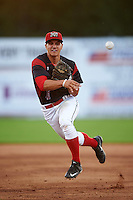 Batavia Muckdogs second baseman Mike Garzillo (11) throws to first during a game against the Hudson Valley Renegades on August 1, 2016 at Dwyer Stadium in Batavia, New York.  Hudson Valley defeated Batavia 5-1. (Mike Janes/Four Seam Images)