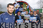 Castleisland Desmond's captain Niall Mitchell and their supporters who are preparing to hit the road to Parnell Park for the final of Celebrity Bainisteoir on Friday l-r: Kelly Murry, Dan Lynch, Toma?s Lynch, Cathal Hannafin, Kevin Hannafin, Michea?l Mangan, Paul Nelligan and Tommy Horan