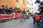 Belgian National Champion Yves Lampaert (BEL) Deceuninck-Quick Step climbs Via Santa Caterina in Siena in the last km of Strade Bianche 2019 running 184km from Siena to Siena, held over the white gravel roads of Tuscany, Italy. 9th March 2019.<br /> Picture: Eoin Clarke | Cyclefile<br /> <br /> <br /> All photos usage must carry mandatory copyright credit (&copy; Cyclefile | Eoin Clarke)