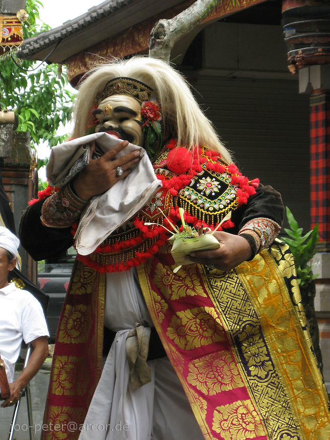 actor performes sacred play   as part of larger, day-long ceremonies  for purifying family house compound in  North of Ubud,   Bali, archipelago Indonesia, 2010