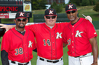 (L-R) Kannapolis Intimidators pitching coach Jose Bautista (38), manager Pete Rose Jr. (14) and hitting coach Rob Sasser (30) pose for a photo prior to the game against the Greensboro Grasshoppers at CMC-NorthEast Stadium on September 1, 2014 in Kannapolis, North Carolina.  The Grasshoppers defeated the Intimidators 7-4.  (Brian Westerholt/Four Seam Images)