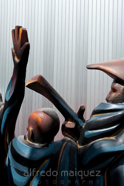 Ninots sculptures at Planta, official name given to mounting Fogueres monument, Hogueras de San Juan, Fogueres de Sant Joan festival. Alicante City, Costa Blanca, Spain, Europe