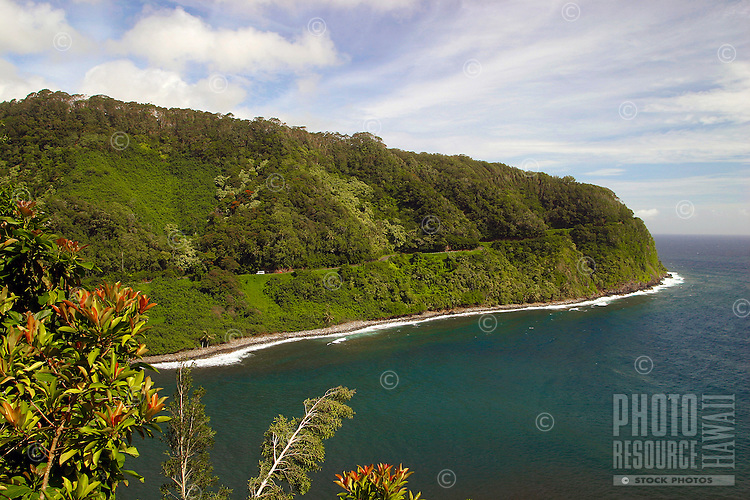 A view of the Hana highway.Famous for it's many hairpin turns and spectacular coastal vistas.Located along Maui's northeast coastline.