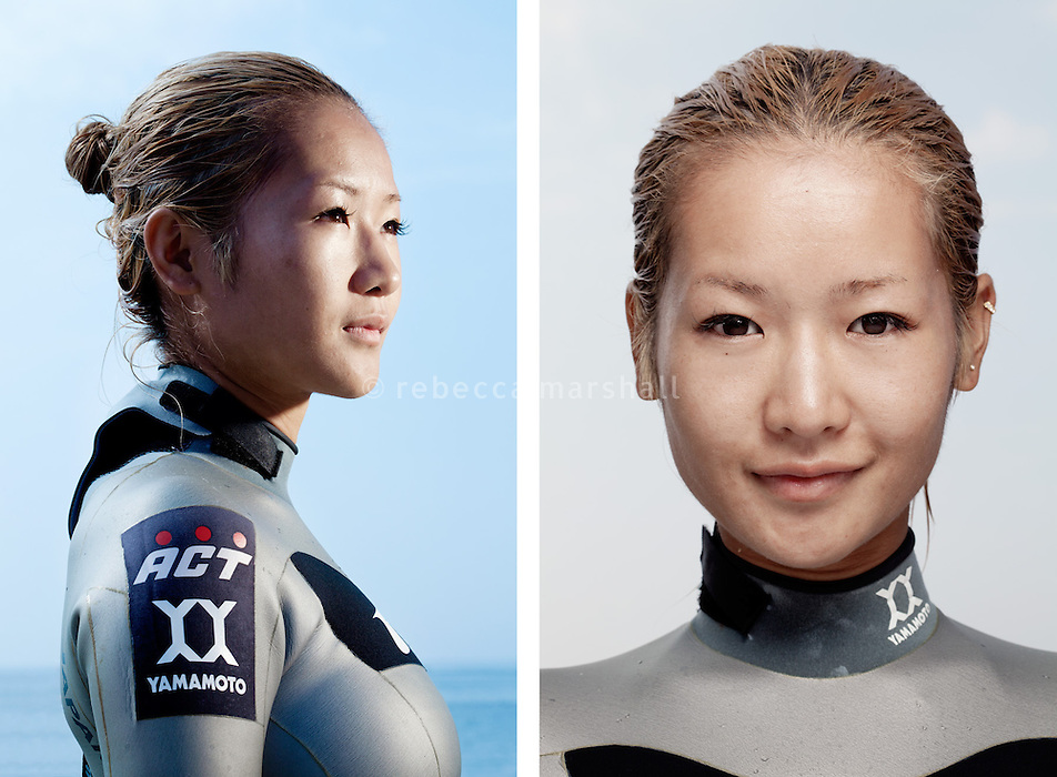 """Hirose Hanako, freediver, poses for the photographer at the A.I.D.A. Freediving World Championships, Villefranche-sur-Mer, France, 11 September 2012. Hirose is a core member of Japan's national women's freediving team, who are undisputed world champions. Their team achieved first place in both of the two latest biennial A.I.D.A. World Championships by Team (Okinawa, Japan, 2010 and Villefranche-Sur-Mer, France, 2012).<br /> <br /> Hirose was born in Mikura-jima, a tiny Japanese volcanic island in the Philippine sea. From an early age, she loved swimming with wild dolphins. 5 years ago, at the age of 26, she took up freediving as a competitive sport. <br /> <br /> """"In the water I'm free, completely free"""""""