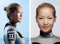 Hirose Hanako, freediver, poses for the photographer at the A.I.D.A. Freediving World Championships, Villefranche-sur-Mer, France, 11 September 2012. Hirose is a core member of Japan's national women's freediving team, who are undisputed world champions. Their team achieved first place in both of the two latest biennial A.I.D.A. World Championships by Team (Okinawa, Japan, 2010 and Villefranche-Sur-Mer, France, 2012).<br />