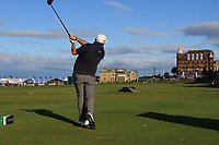 Shane Lowry (IRL) on the 18th tee during Round 3 of the Alfred Dunhill Links Championship 2019 at St. Andrews Golf CLub, Fife, Scotland. 28/09/2019.<br /> Picture Thos Caffrey / Golffile.ie<br /> <br /> All photo usage must carry mandatory copyright credit (© Golffile | Thos Caffrey)