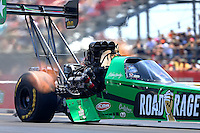 Apr 30, 2016; Baytown, TX, USA; NHRA top fuel driver Kebin Kinsley during qualifying for the Spring Nationals at Royal Purple Raceway. Mandatory Credit: Mark J. Rebilas-USA TODAY Sports