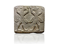 "Picture & image of Hittite relief sculpted orthostat stone panel of Herald's Wall Basalt, Karkamıs, (Kargamıs), Carchemish (Karkemish), 900-700 B.C. Bird-headed, winged figures of human body. Anatolian Civilisations Museum, Ankara, Turkey.<br /> <br /> These figures are called as ""Winged Griffin Demons"". Embossing is constructed symmetrically. Their hands are on their heads. It is assumed that they carry the heavens. <br /> <br /> Against a white background."