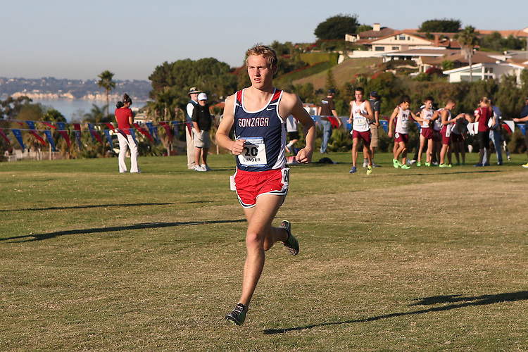 November 2, 2013; Malibu, CA, USA; Gonzaga runner Danny Lunder (20) during the WCC Cross Country Championship at Alumni Park.
