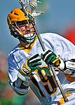 17 March 2012: University of Vermont Catamount Midfielder Cal Case, a Senior from Columbus, Ohio, in action against the Sacred Heart University Pioneers at Virtue Field in Burlington, Vermont. The visiting Pioneers rallied to tie the score at 11 with five unanswered goals in the 4th period. However the Cats came back with only 10 seconds remaining in the game to defeat the Pioneers 12-11 in their non-conference matchup. Mandatory Credit: Ed Wolfstein Photo