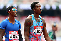 first place Michael Cherry of USA and second place Tony Mcquay of USA after competing in the menís 400 metres during the Muller Anniversary Games at The London Stadium on 9th July 2017