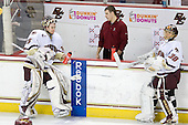 Parker Milner (BC - 35), Mike Feeley (BC - Student Manager), Chris Venti (BC - 30) - The Boston College Eagles defeated the University of Massachusetts-Amherst Minutemen 2-1 (OT) on Friday, February 26, 2010, at Conte Forum in Chestnut Hill, Massachusetts.