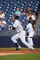 Tampa Yankees first baseman Matt Snyder (29) follows through on a swing during a game against the Fort Myers Miracle on April 12, 2017 at George M. Steinbrenner Field in Tampa, Florida.  Tampa defeated Fort Myers 3-2.  (Mike Janes/Four Seam Images)