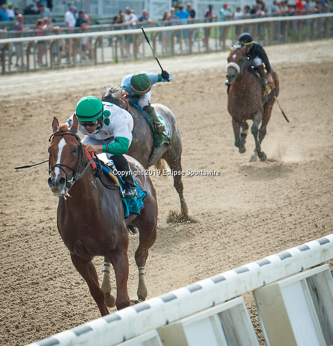 July 6, 2019: Promises Fulfilled, ridden by Luis Saez, wins the 2019 running of the G2 John Nerud H. at Belmont Park in Elmont, NY. Sophie Shore/ESW/CSM