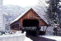 AJ5935, covered bridge, winter, Woodstock, snow, The scenic Middle Covered Bridge on a wintry day in the snow in Woodstock in Windsor County in the state of Vermont.
