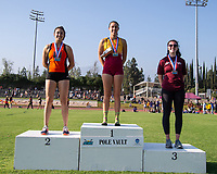 At left, Melissa Braun '19 2nd place pole vault<br /> The Occidental College men's and women's track and field teams compete in the 2019 Southern California Intercollegiate Athletic Conference (SCIAC) Track and Field Championships at the Claremont-Mudd-Scripps Burns Track Complex in Claremont, Calif. on Saturday, April 27, 2019.<br /> After the two-day SCIAC Championships CMS scored 211.50 points, followed by Pomona-Pitzer (171.50), Redlands (114), Occidental (92.50), Whittier (57.50), La Verne (54), Cal Lutheran (48), Chapman (23) and Caltech (4). <br /> <br /> (Photo by Eddie Ruvalcaba, Image of Sport)