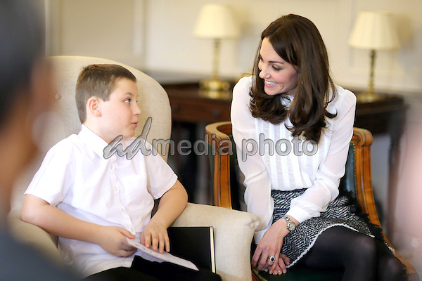 17 February 2016 - London, England - Kate Duchess of Cambridge Catherine Katherine Middleton chats to Hayden Pearce from the 'Real Truth' video blog that features on the Huffington Post website at Kensington Palace in London. The Duchess of Cambridge is supporting the launch of the Huffington Post UK's initiative 'Young Minds Matter' by guest editing the Huffington Post UK today from Kensington Palace. Photo Credit: Alpha Press/AdMedia