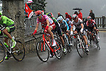 The peloton in action during Stage 4 of the 2016 Tour de Romandie, running 173.2km from Conthey to Villars, Switzerland. 30th April 2016.<br /> Picture: Heinz Zwicky | Newsfile<br /> <br /> <br /> All photos usage must carry mandatory copyright credit (© Newsfile | Heinz Zwicky)