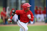 GCL Nationals second baseman Ronaldy Sosa (1) runs to first base during a game against the GCL Mets on August 4, 2018 at FITTEAM Ballpark of the Palm Beaches in West Palm Beach, Florida.  GCL Nationals defeated GCL Mets 7-4.  (Mike Janes/Four Seam Images)
