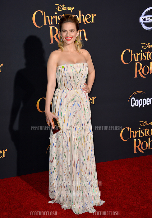 Hayley Atwell at the world premiere of Disney's &quot;Christopher Robin&quot; at Walt Disney Studios, Burbank, USA 30 July 2018<br /> Picture: Paul Smith/Featureflash/SilverHub 0208 004 5359 sales@silverhubmedia.com