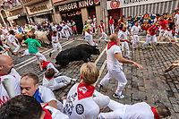 Europe,Spain,Pamplona,San Firmin festival 2018, Encierro, bulls running and first injured