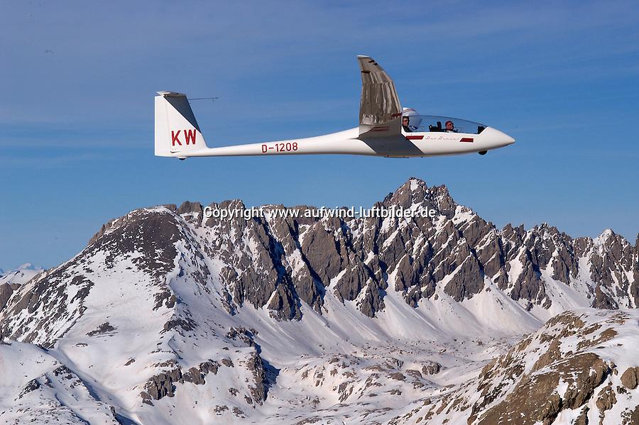 Segelflug, Segelflugzeug, Duo Discus, Chamberon, Berge, Schnee, Alpen, Frankreich,  Seealpen, Valle de Ubay