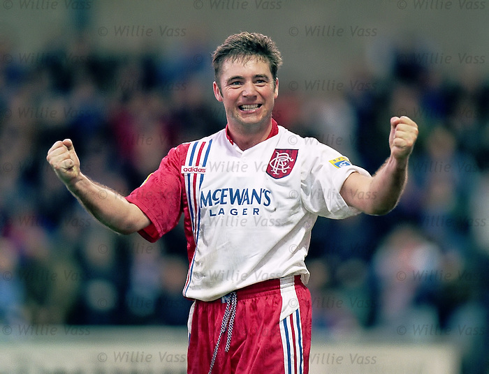 The delight is etched on Ally McCoist's face as he bags a crucial point in the season when Rangers went on to seal 9 in a row league titles