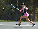 Jana Cepelova (SVK) battles Elena Vesnina (RUS) at the Family Circle Cup in Charleston, South Carolina on April 3, 2014.