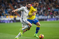 Daniel Carvajal of Real Madrid competes for the ball with Jese Rodriguez of UD Las Palmas  during the match of Spanish La Liga between Real Madrid and UD Las Palmas at  Santiago Bernabeu Stadium in Madrid, Spain. March 01, 2017. (ALTERPHOTOS / Rodrigo Jimenez) /NORTEPHOTOmex