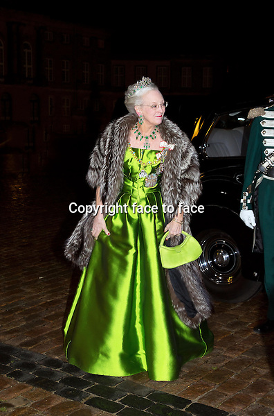 01-01-2014 Amalienborg Queen Margrethe at the New Years reception at Amalienborg in Copenhagen.<br />